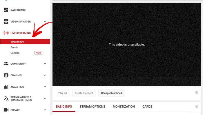 Live Stream Camera lên YouTube