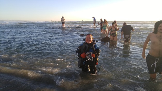 The author, wearing LP50 doubles, a drysuit and full-face mask to dive to 11 feet on the shipwreck. Was the equipment necessary? No, but it got the attention of lots of kids.
