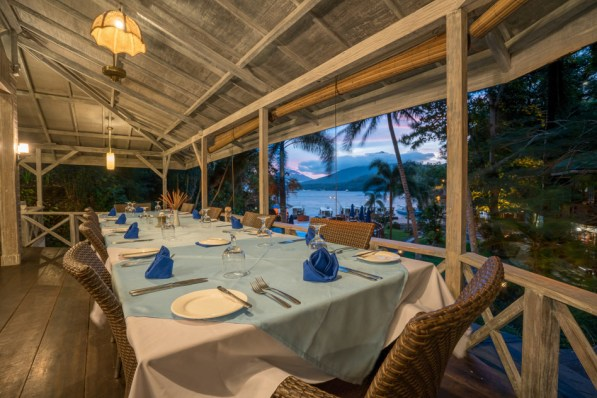 The open-air dining room at Lembeh Resort offers a great view of Lembeh Strait.