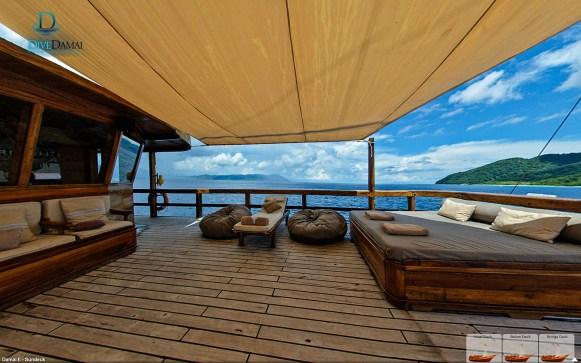 The bridge deck on the Damai II offers plenty of room for lounging around between dives. (Courtesy Damai II)