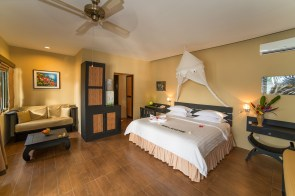Bungalows at Lembeh Resort are roomy and comfortable, with A/C and en suite bathrooms.