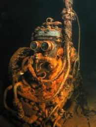 The air compressor in the machine shop of the Fujikawa Maru in Chuuk Lagoon is nicknamed R2D2 for obvious reasons. © Bonnie Pelnar, Under Watercolours