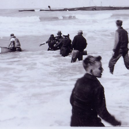 Townsfolk rescuing Captain José Urquida, March 1940 (Photo Courtesy of the National Archives)