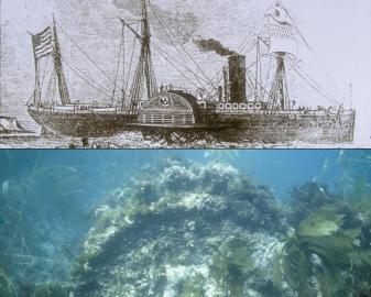 An engraving of the SS Winfield Scott (top) compared to what the vessel looks like today on the seafloor (bottom). (Image courtesy of the National Park Service)