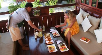Have your breakfast at the main dining room or choose to eat on your verandah before your dive day begins. Photo courtesy of Wakatobi Dive Resort