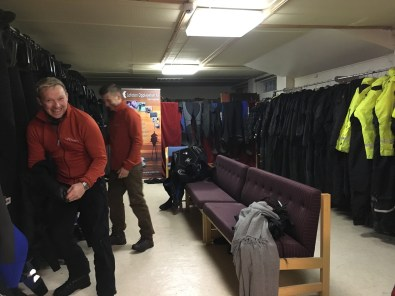 Getting ready in the morning in the basement of Andrikken Hotel meant a thermal layer, drysuit, boots, hood and gloves. (Photo by Rebecca Strauss)