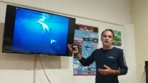 Pascal Gospodinov, research scientist, in a classroom session at SharkSchool (Photo credit: Lisa Niver, We Said Go Travel)
