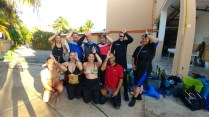 The author's SharkSchool class gearing up for their next dive with bull sharks at ProDive International (Photo credit: Lisa Niver, We Said Go Travel)