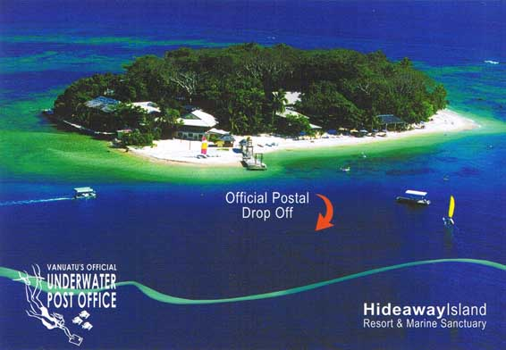 One of Vanuatu's official waterproof postcards you can send from their underwater post office.