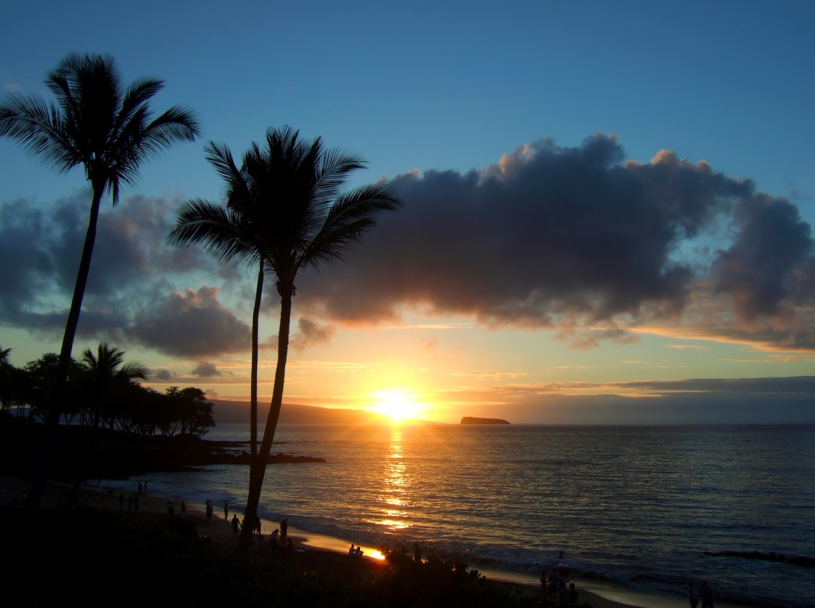 Sunset with Molokini Crater in the distance.