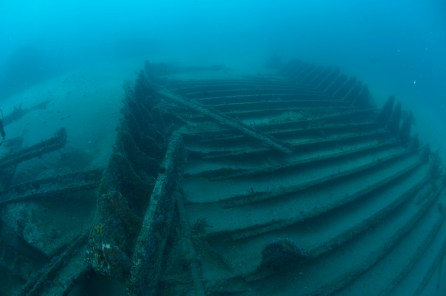 Divers explore the remains of the Ashkhabad. Photo: NOAA