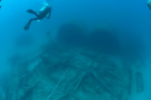 Divers explore Ashkhabad's remains and boilers. Photo: NOAA