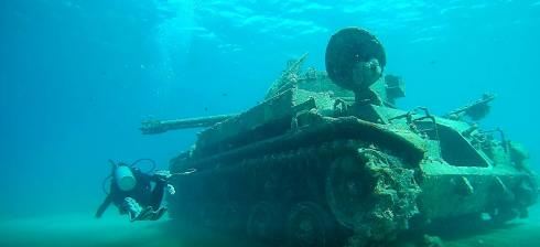 A tank slowly rusts underwater (credit: Shelley Collett)