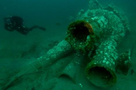 The forward torpedo tubes located on the wreck of U-85. (Photo: Joe Hoyt, NOAA)