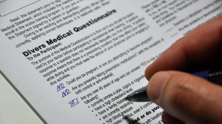 Truthfully and accurately completing the Divers Medical Questionnaire is extremely important to divers' health and safety
