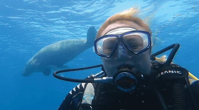 Stacy with a dugong