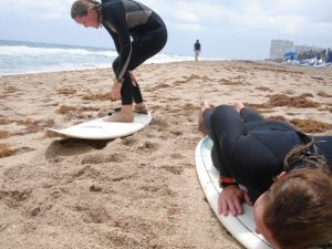 attempting to surf in Ft Lauderdale