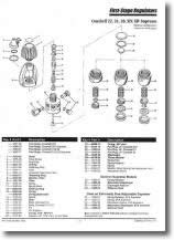 Scuba Regulator Spare Parts and Service Manuals Database