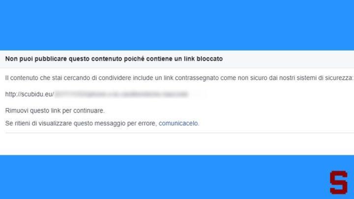 Cosa fare se Facebook blocca i link del blog
