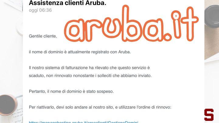 """Attenzione alla mail truffa """"Assistenza Clienti Aruba"""""""