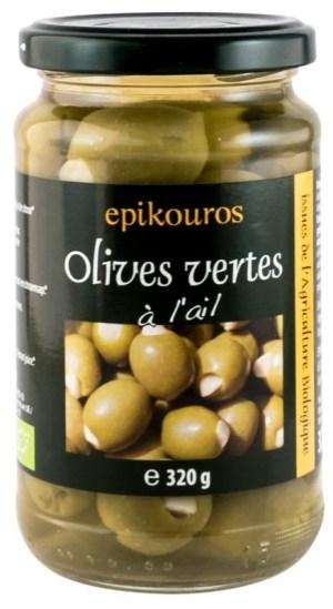 Epikouros - Masline verzi BIO umplute cu usturoi in saramura, 320g