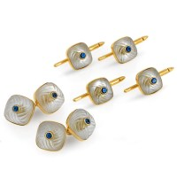 Cufflink and Stud Set with Crystal Sapphire Centers Set of ...