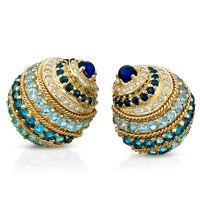 18k Gold Banded Nautilus Shell Earrings with Blue Stones ...