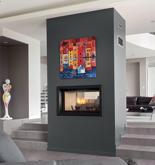 Axis H1600DS Double Sided Wood Heater  Sculpt Fireplace Collection