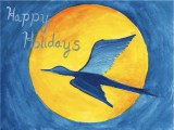 Holiday card bird silhouette on moon