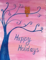 Holiday card owl in tree