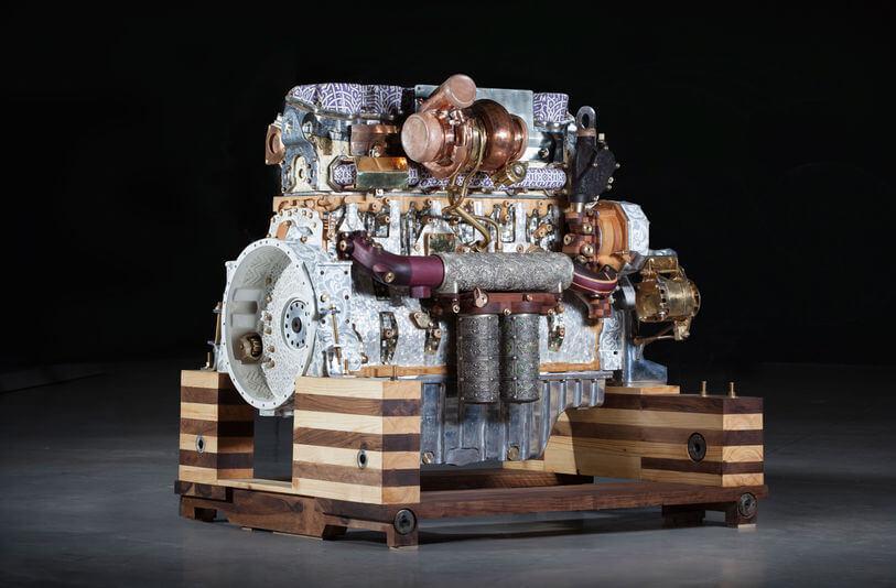 Eric van Hove Caterpillar engine sculpture