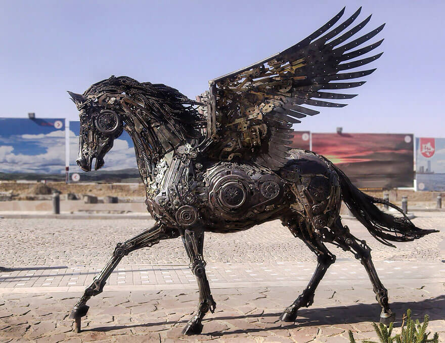 Steampunk Sculpture Pegasus by Hasan Novrozi