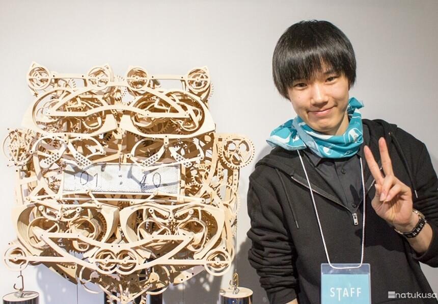 Suzuki Kango and his wood clock that writes
