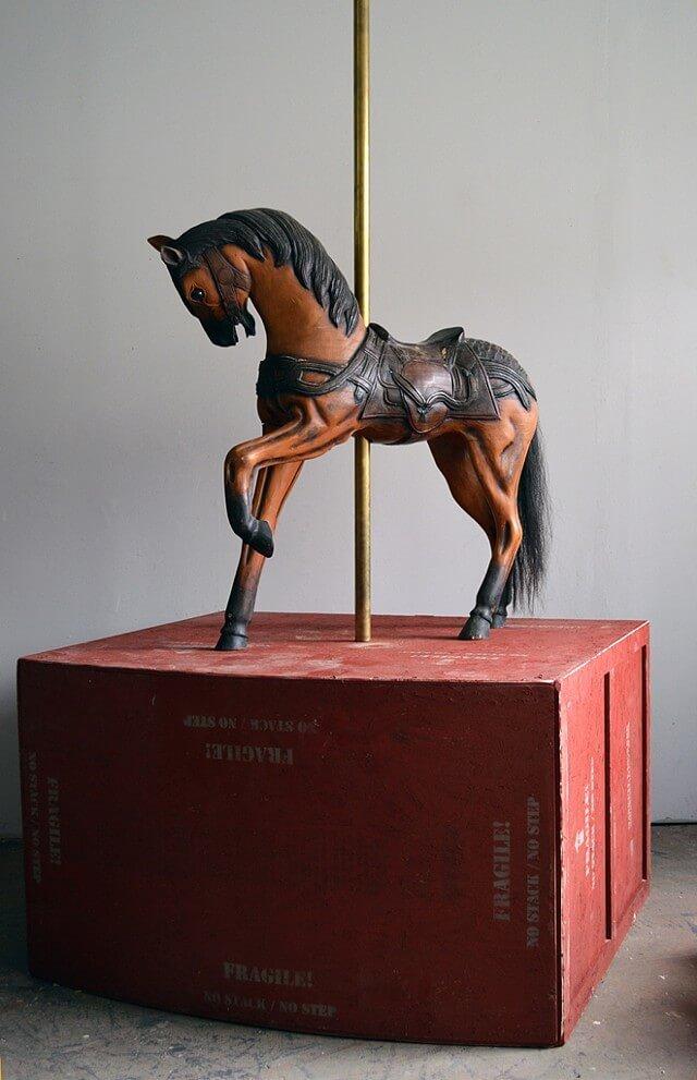 Janus, carousel horse front side, sculpture by Maskull Lasserre