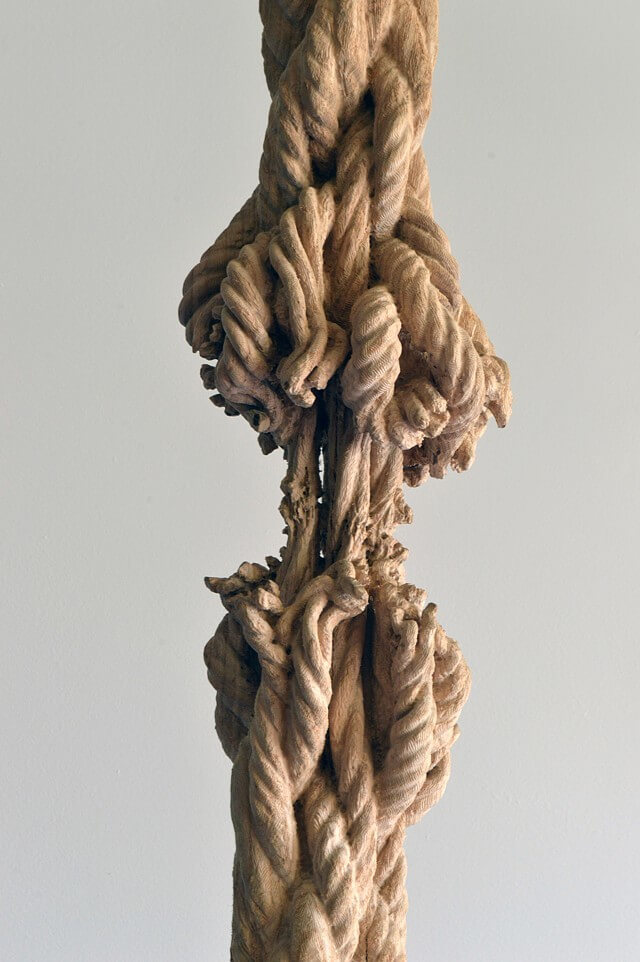 detail of carved knot in Schrodinger's Wood sculpture by Maskull Lasserre