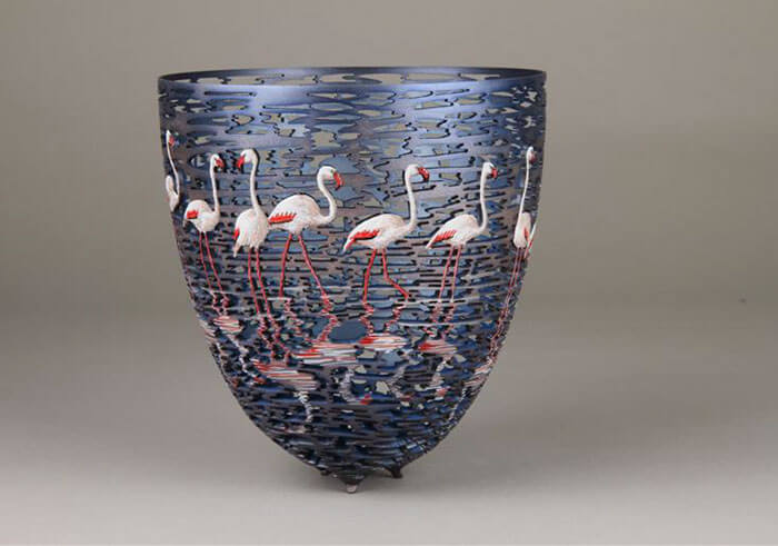 Gordon Pembridge wood carving flamingos exterior