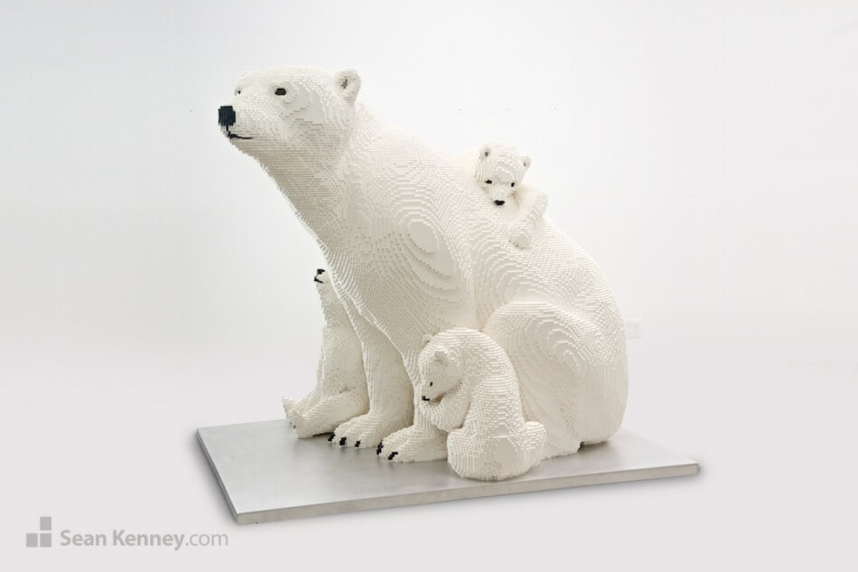 polar bear family Lego sculpture by Sean Kenney