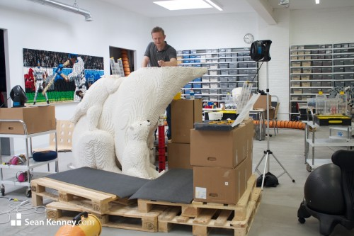 polar bear lego sculpture in progress by Sean Kenney