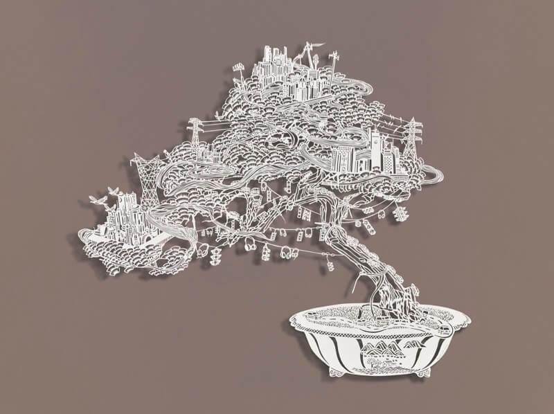 bovey lee paper sculpture bonsai wired cities