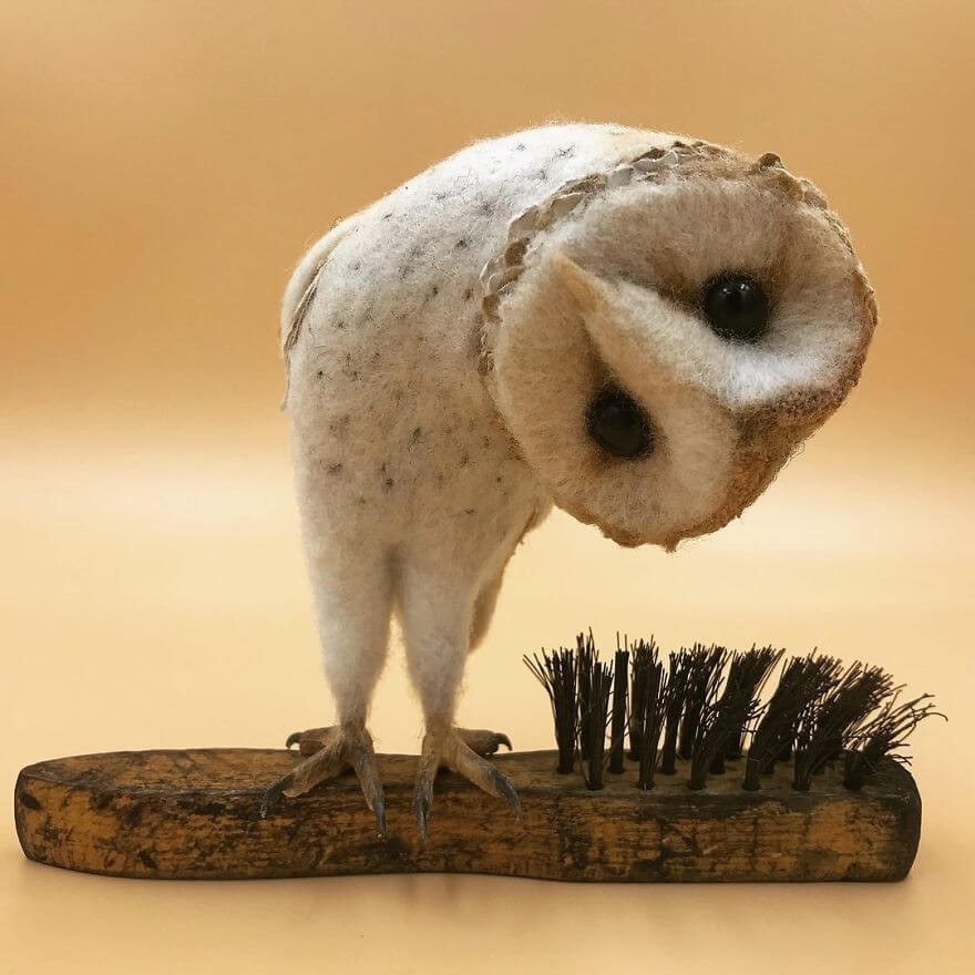 Curious Owl needle felt art by Simon Brown
