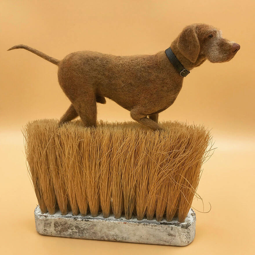 Hungarian Vizsla needle felt art by Simon Brown
