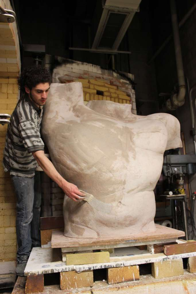"sculptor Lorenzo Lorenzetti with ""Torso"""