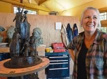 Sculptor Jane DeDecker and her suffragette monument sculpture