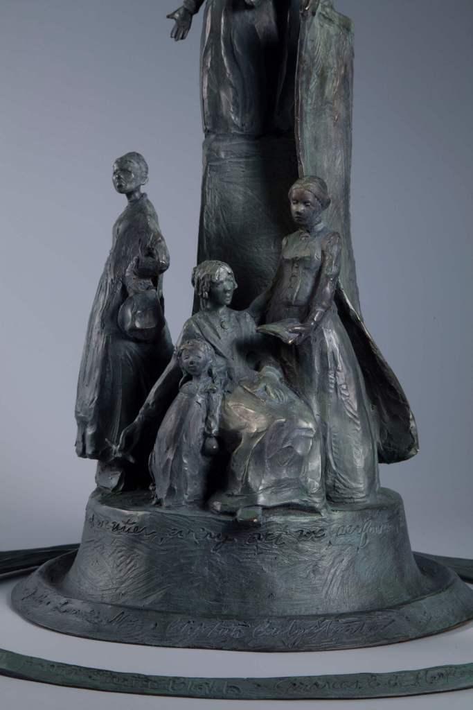 Sculptor Jane DeDecker suffragette monument sculpture detail view