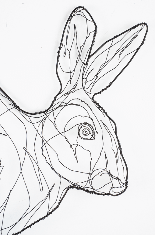 detail of wire sculpture of hare by RosemaryCraft