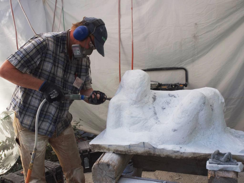 Stone sculpture taking shape