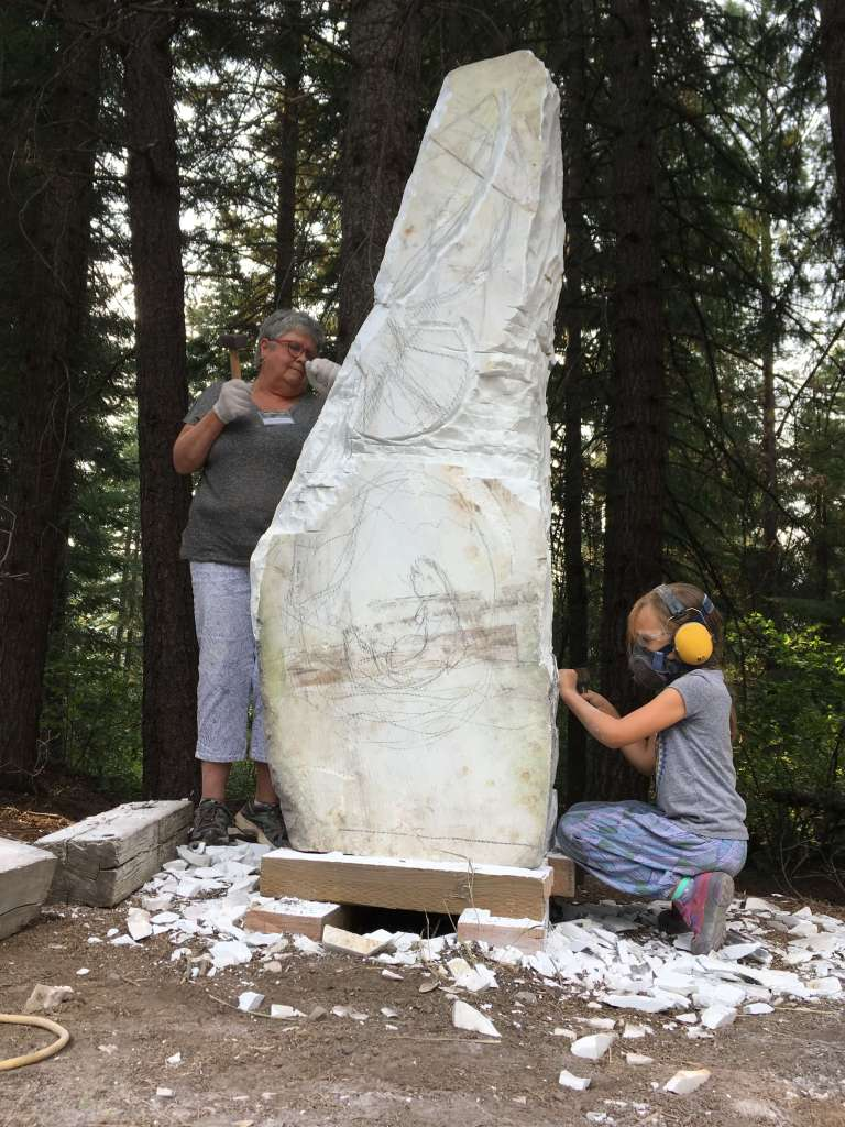 Community stone carving project is part of the annual Northwest Stone Sculptors Associations International Symposium
