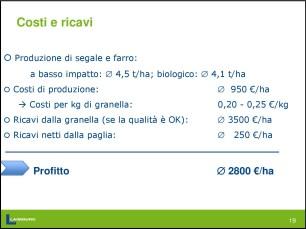 filiera cerealicola - costi e ricavi