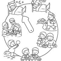 L'orologio della giornata da colorare per la scuola d'infanzia