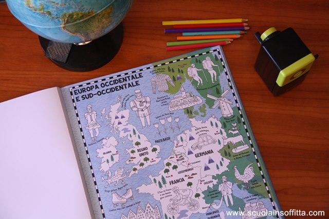 libro da colorare per bambini map colouring book Sassi Editore